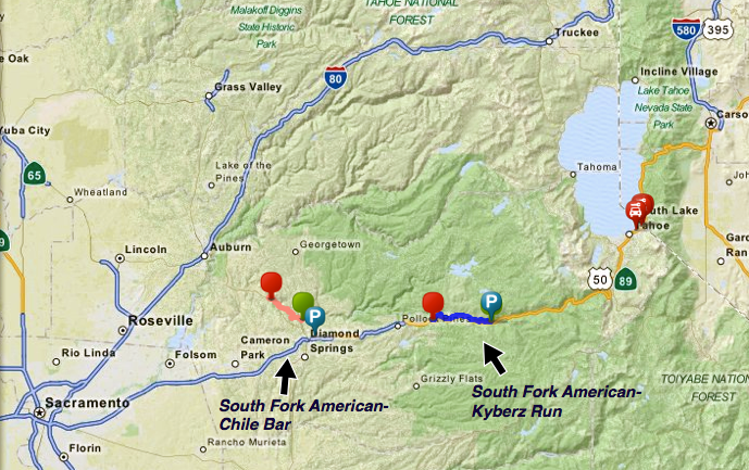 Trips By Location Tahoe Whitewater Tours - Map-of-us-hwy-50